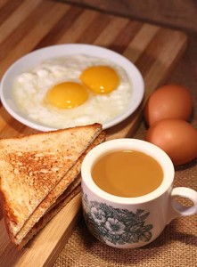 Go for a simple eggs and kaya toast combination at your nearest kopitiam