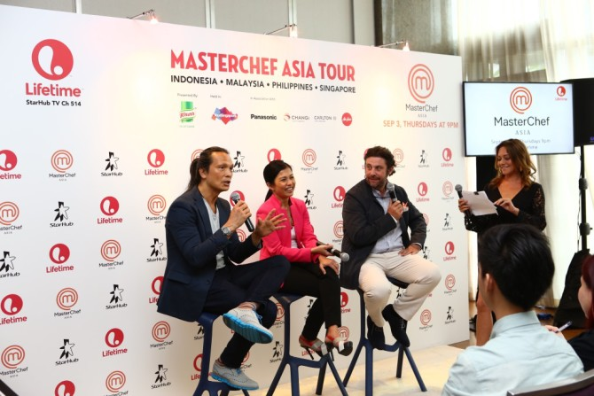 MasterChef Asia Judges chatting with the Emcee on their insights on the show (L-R- Susur Lee, Audra Morrice, Bruno Mernard)_Credit to Lifetime Asia