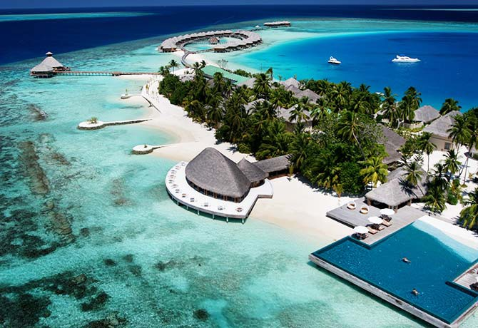 Huvafen Fushi has only 44 units and is largely surrounded by greenery