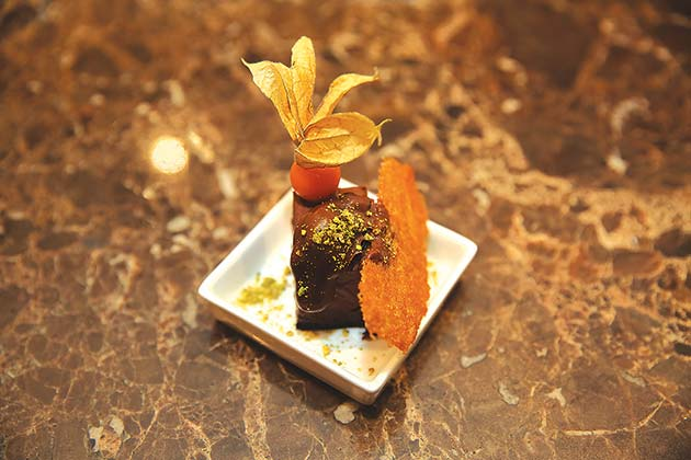 End your meal with a satisfying Rum Cocoa Mousse Bar from Kuvo