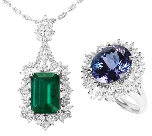 8.34-carat emerald pendant surrounded by round brilliant diamonds and Marquise-cut diamonds set in 950 platinum (left) and5.27-carat oval-shaped Tanzanite ring surrounded by round brilliant diamonds and Marquise-cut diamonds set in platinum. From Chakra Fine Jewellery.