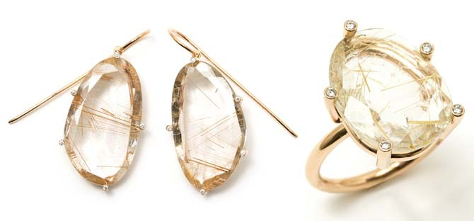 Erich Zimmerman's Snowflake Ring in 750 rose gold (right) and Snowflake Earrings in rose gold.