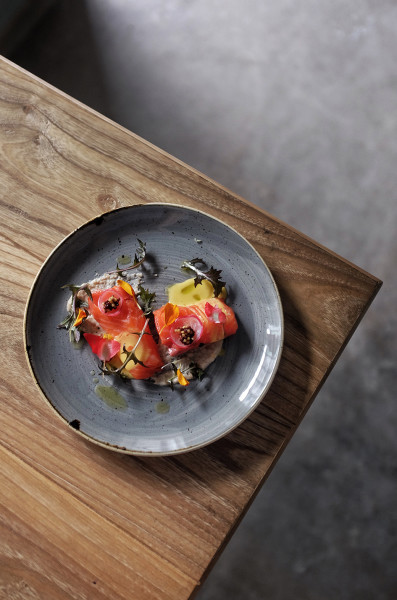 Rainbow-Trout-egg-yolk-almond-milk-topped-with-pickled-mustard-seeds.