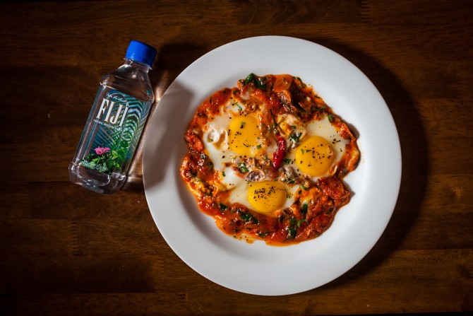 Burlamacco- Three Eggs Cooked in Spicy Tomato Sauce and Fresh Herbs