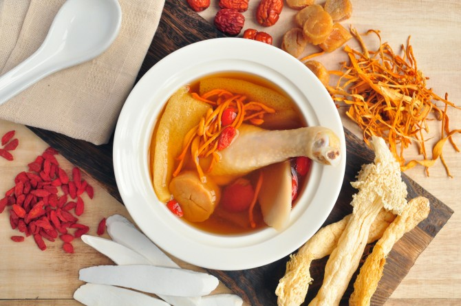 Min Jiang - Double Boiled Kampong Chicken with Conpoy Cordyceps Militaris and Bamboo Pith