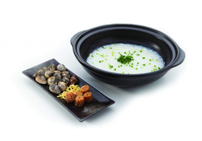 Essence of the fresh ingredients are all captured below the steaming plate to cook the congee with Clam, Dried Scallop & Ginger Slice (1)