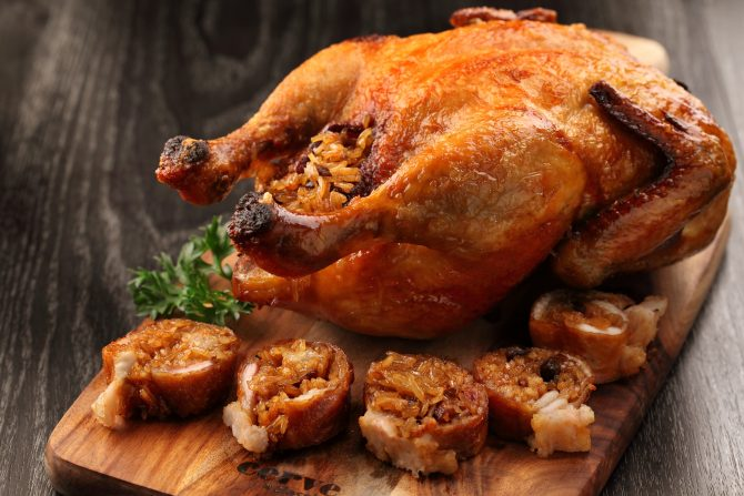 Roasted Crispy Chicken stuffed with glutinous rice and preserved meats - 1