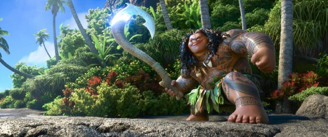 """MAUI is a demigod—half god, half mortal, all awesome. Charismatic and funny, he wields a magical fishhook that allows him to shapeshift into all kinds of animals and pull up islands from the sea. Featuring Dwayne Johnson as the voice of Maui, Walt Disney Animation Studios' """"Moana"""" sails into U.S. theaters on Nov. 23, 2016. ©2016 Disney. All Rights Reserved."""